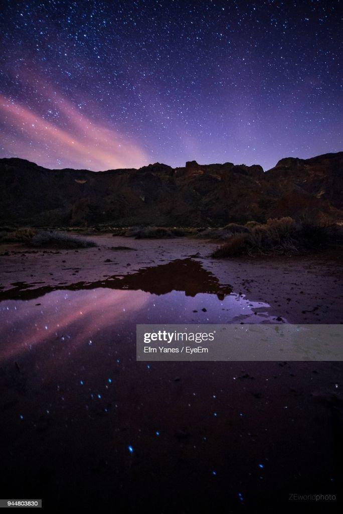 Scenic View Of Lake Against Sky At Night : Stock Photo
