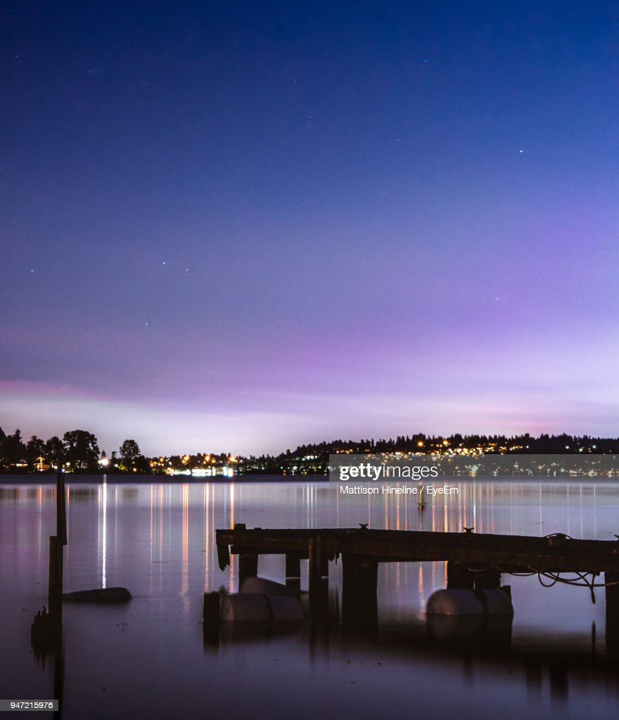 Scenic View Of Lake Against Sky At Night : ストックフォト