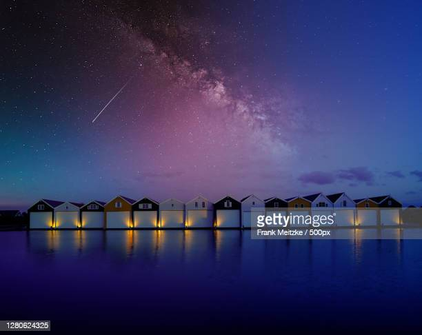 scenic view of lake against sky at night,giethoorn,netherlands - giethoorn stock pictures, royalty-free photos & images