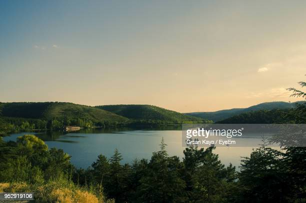 scenic view of lake against sky at sunset - ankara turkey stock pictures, royalty-free photos & images