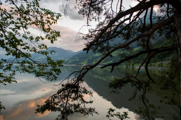 Scenic view of lake against sky at sunset,Hergiswil,Switzerland