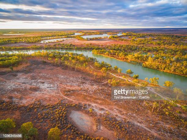 scenic view of lake against sky during autumn - south australia stock photos and pictures