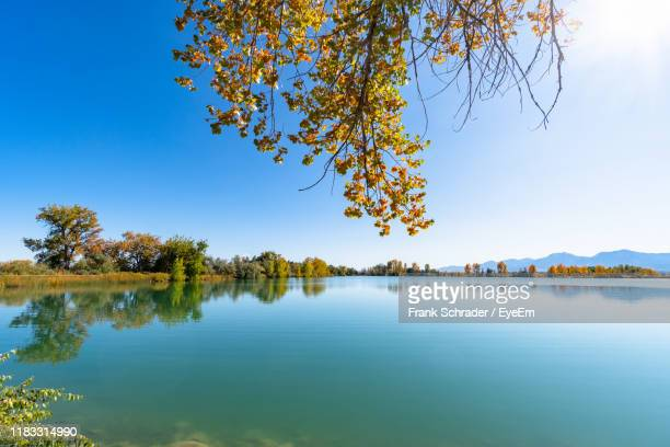 scenic view of lake against sky during autumn - frank schrader stock pictures, royalty-free photos & images