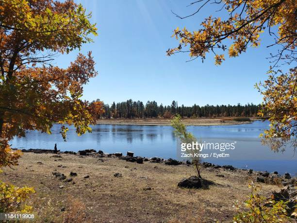 scenic view of lake against sky during autumn - krings stock pictures, royalty-free photos & images