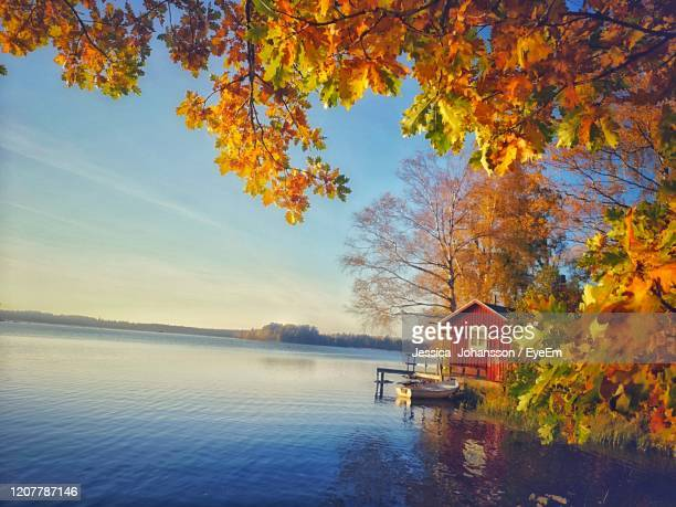 scenic view of lake against sky during autumn - sweden stock pictures, royalty-free photos & images