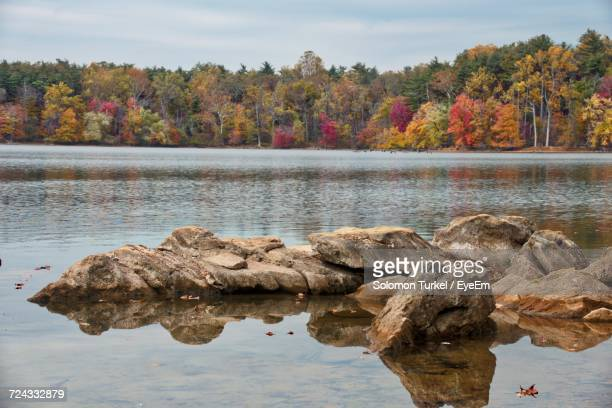 scenic view of lake against sky during autumn - solomon turkel stock pictures, royalty-free photos & images