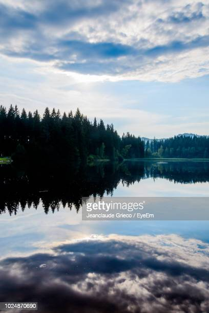 scenic view of lake against sky during sunset - linz stock pictures, royalty-free photos & images