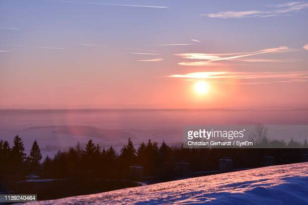 scenic view of lake against sky during sunset - thuringia stock pictures, royalty-free photos & images