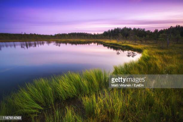 scenic view of lake against sky during sunset - jyväskylä stock pictures, royalty-free photos & images