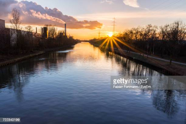 scenic view of lake against sky during sunset - ruhr stock pictures, royalty-free photos & images