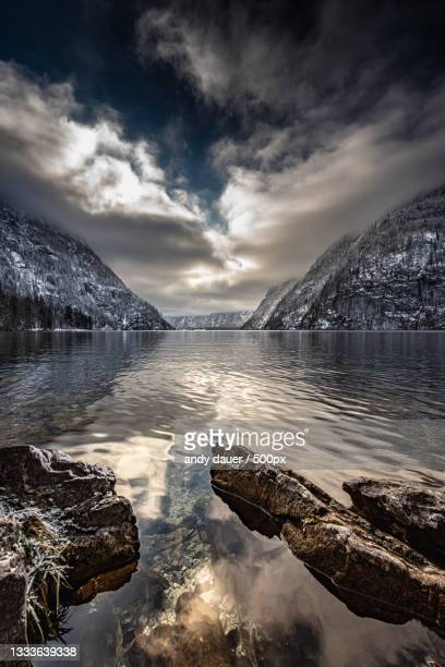 scenic view of lake against sky during winter,germany - andy dauer stock pictures, royalty-free photos & images