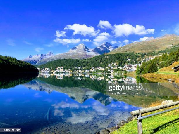 scenic view of lake against sky - saint moritz foto e immagini stock