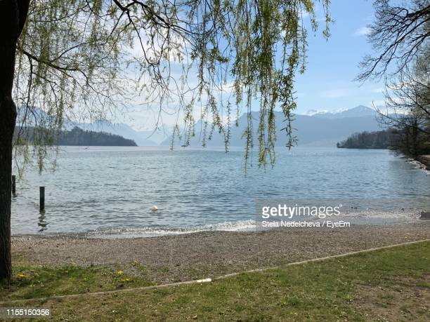 scenic view of lake against sky - coastal feature stock pictures, royalty-free photos & images