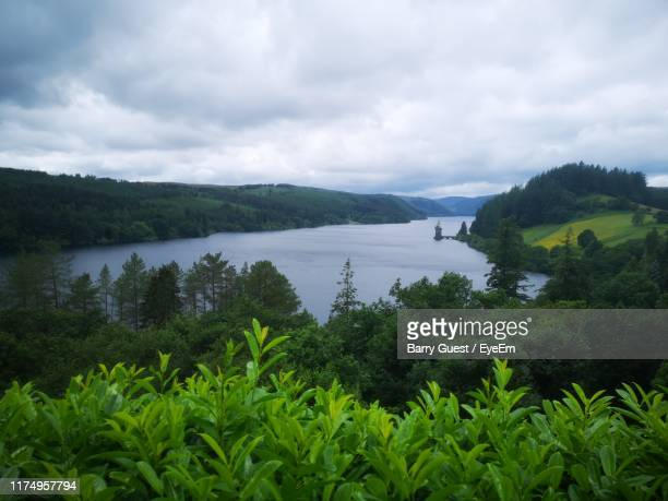 scenic view of lake against sky - lake vyrnwy stock pictures, royalty-free photos & images