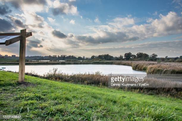 scenic view of lake against sky - nijmegen stock pictures, royalty-free photos & images