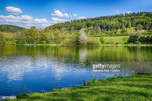 scenic view of lake against sky - riverbank - fotografias e filmes do acervo