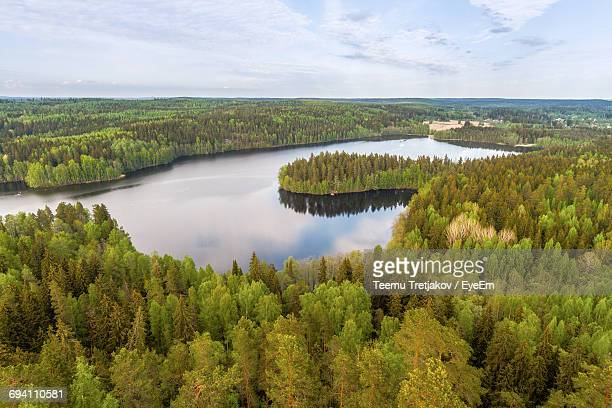 scenic view of lake against sky - teemu tretjakov stock pictures, royalty-free photos & images