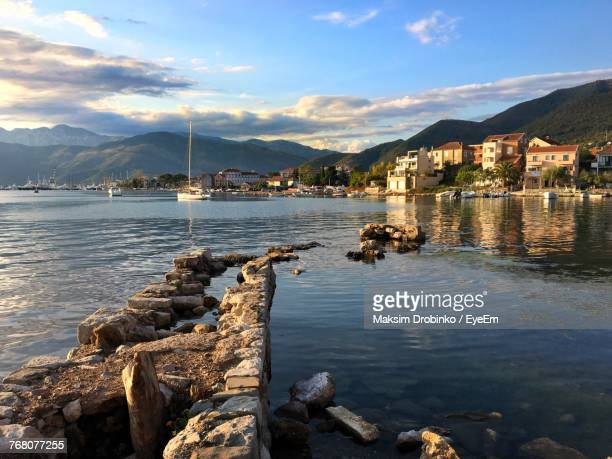 scenic view of lake against sky - montenegro bildbanksfoton och bilder