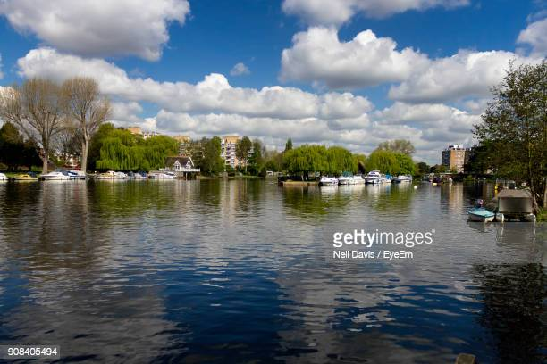 scenic view of lake against sky - kingston upon thames stock pictures, royalty-free photos & images
