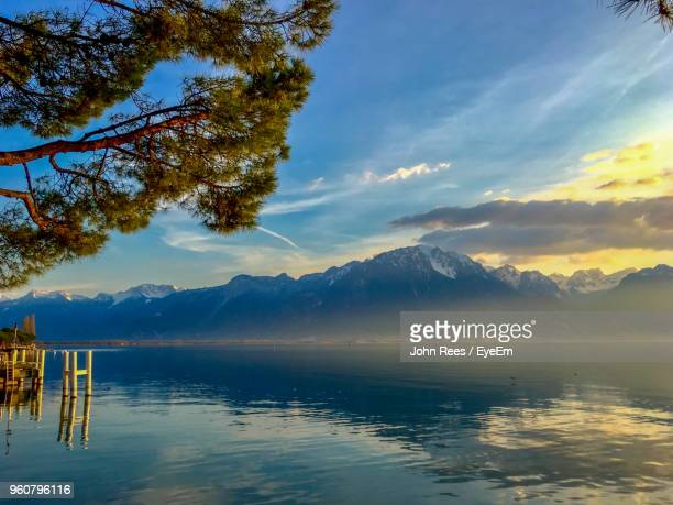 scenic view of lake against sky - montreux stock pictures, royalty-free photos & images