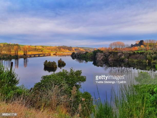 scenic view of lake against sky - hamilton new zealand stock pictures, royalty-free photos & images