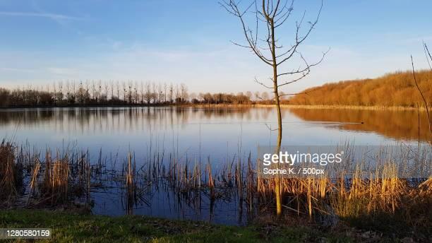 scenic view of lake against sky,france - tranquil scene imagens e fotografias de stock