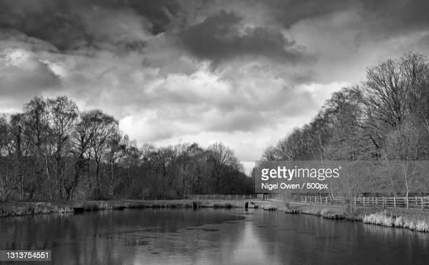 scenic view of lake against sky,hengoed,united kingdom,uk - nigel owen stock pictures, royalty-free photos & images