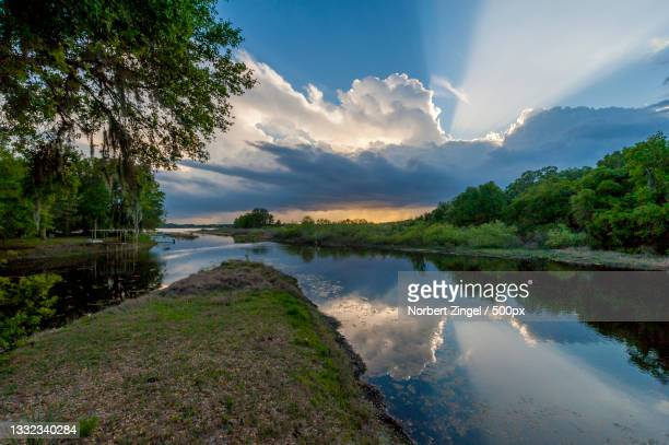 scenic view of lake against sky,inverness,florida,united states,usa - norbert zingel stock-fotos und bilder