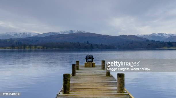 scenic view of lake against sky,waterhead,england,united kingdom,uk - jetty stock pictures, royalty-free photos & images