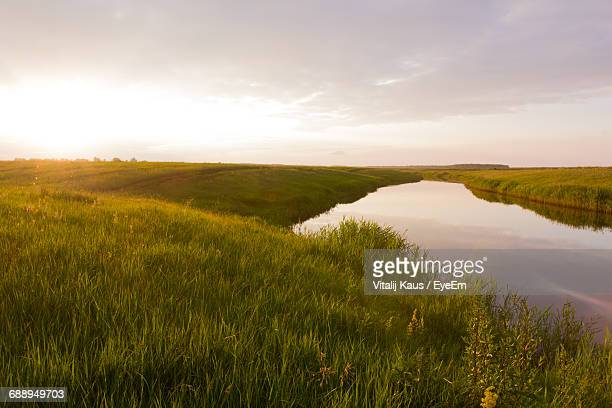 Scenic View Of Lake Amidst Grassy Field Against Sky