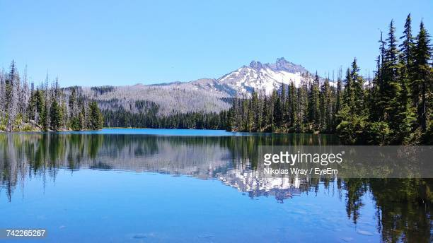 scenic view of lake and mountains against clear blue sky - corvallis stock pictures, royalty-free photos & images