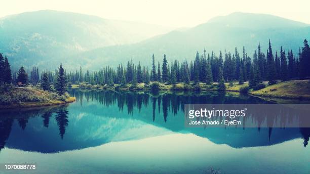 scenic view of lake and mountains against sky - reflection lake stock photos and pictures