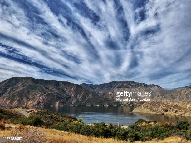 scenic view of lake and mountains against sky - santa clarita stock pictures, royalty-free photos & images