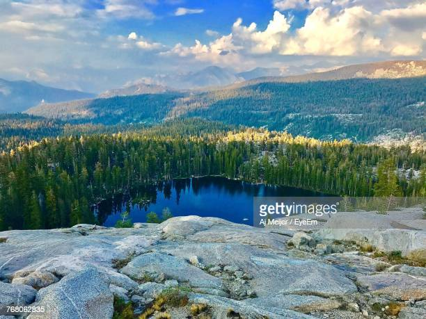 scenic view of lake and mountains against sky - sequoia national park stock pictures, royalty-free photos & images