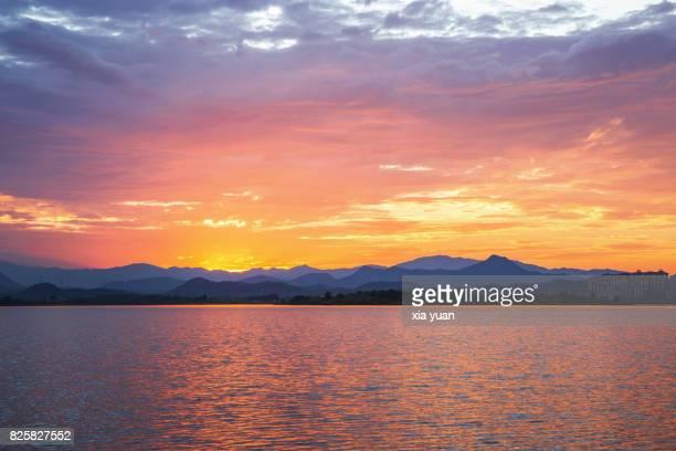 Scenic view of lake at dusk,Hangzhou,China