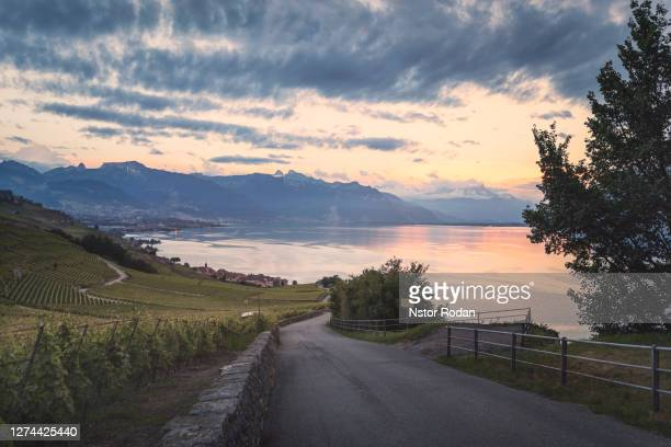scenic view of lake at sunset, montreux, vaud, switzerland - montreux stock pictures, royalty-free photos & images