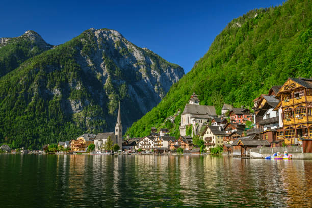 Scenic view of lake by Hallstatt town against clear sky