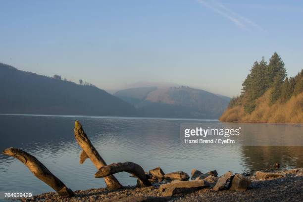 scenic view of lake by mountains against clear sky - lake vyrnwy stock pictures, royalty-free photos & images