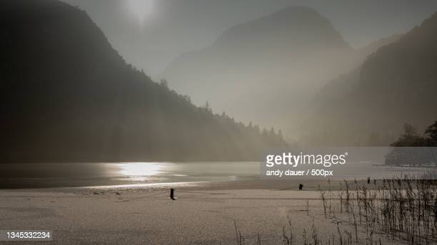 scenic view of lake by mountains against sky,bad reichenhall,germany - andy dauer stock pictures, royalty-free photos & images