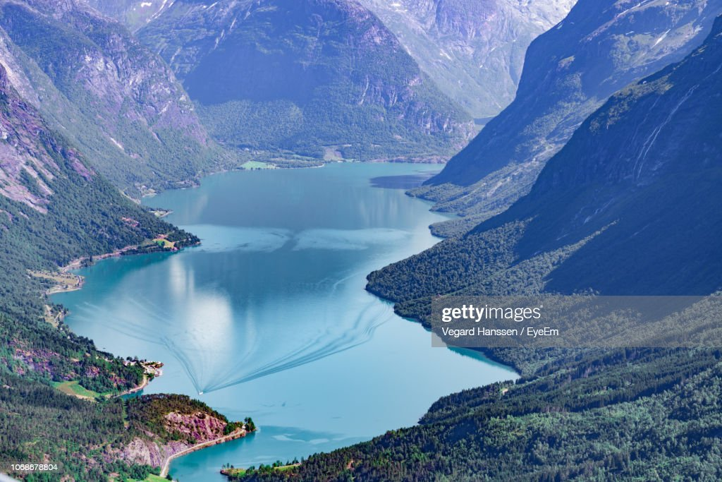 Scenic View Of Lake By Mountains : Stock Photo