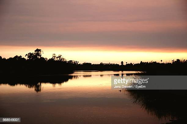 Scenic View Of Lake By Silhouette Trees Against Cloudy Sky