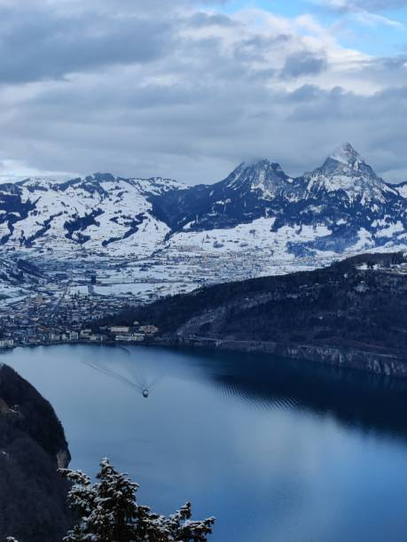 Scenic View Of Lake By Snowcapped Mountains Against Sky Switzerland