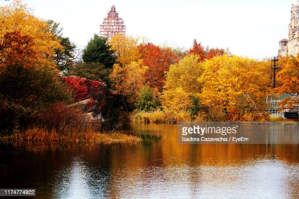 scenic view of lake by trees against sky during autumn - holy city park stock pictures, royalty-free photos & images