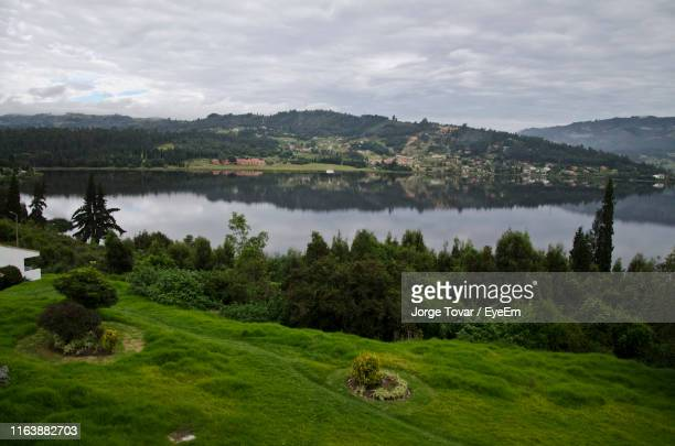 scenic view of lake by trees against sky - パイパ市 ストックフォトと画像