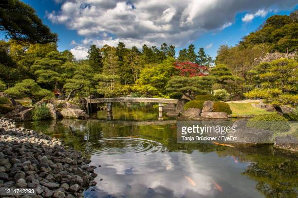 scenic view of lake by trees against sky - 日本庭園 ストックフォトと画像