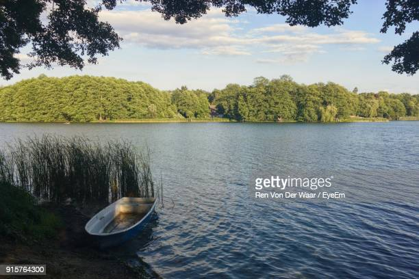 scenic view of lake by trees against sky - land brandebourg photos et images de collection