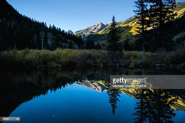 Scenic View Of Lake By Trees And Mountain Against Clear Blue Sky