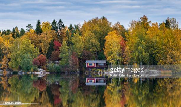 scenic view of lake by trees during autumn - finlandia fotografías e imágenes de stock