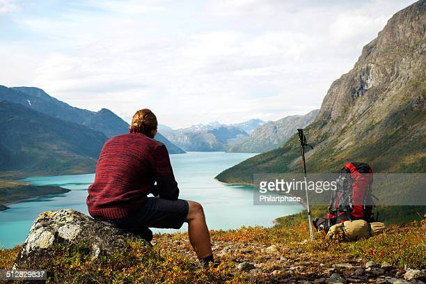 Scenic view of lake Gjende in the Jotunheimen national park