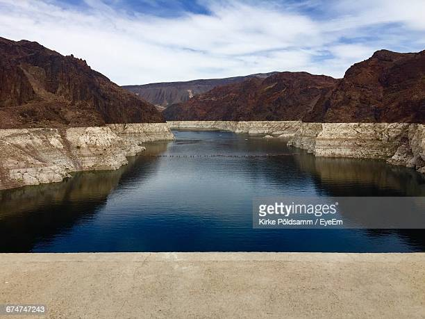 Scenic View Of Lake Mead Behind Hoover Dam Against Sky
